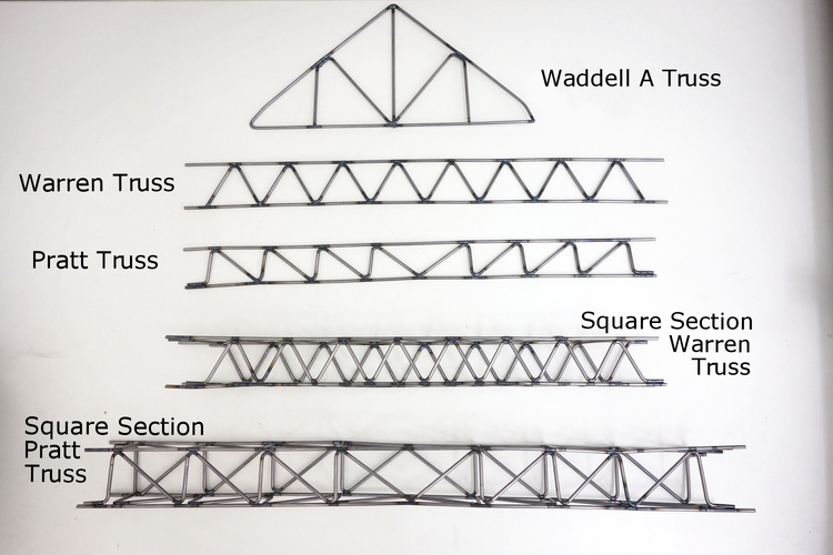 There are all sorts of trusses. Here are just a few 2D and 3D examples.