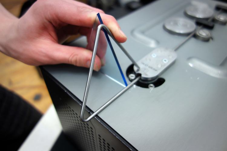 At the Pause Point rotate the bent triangle 115 degrees from its original bend plane.