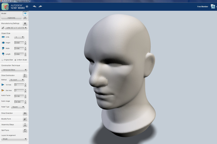 Start with a solid model in 123D Make.