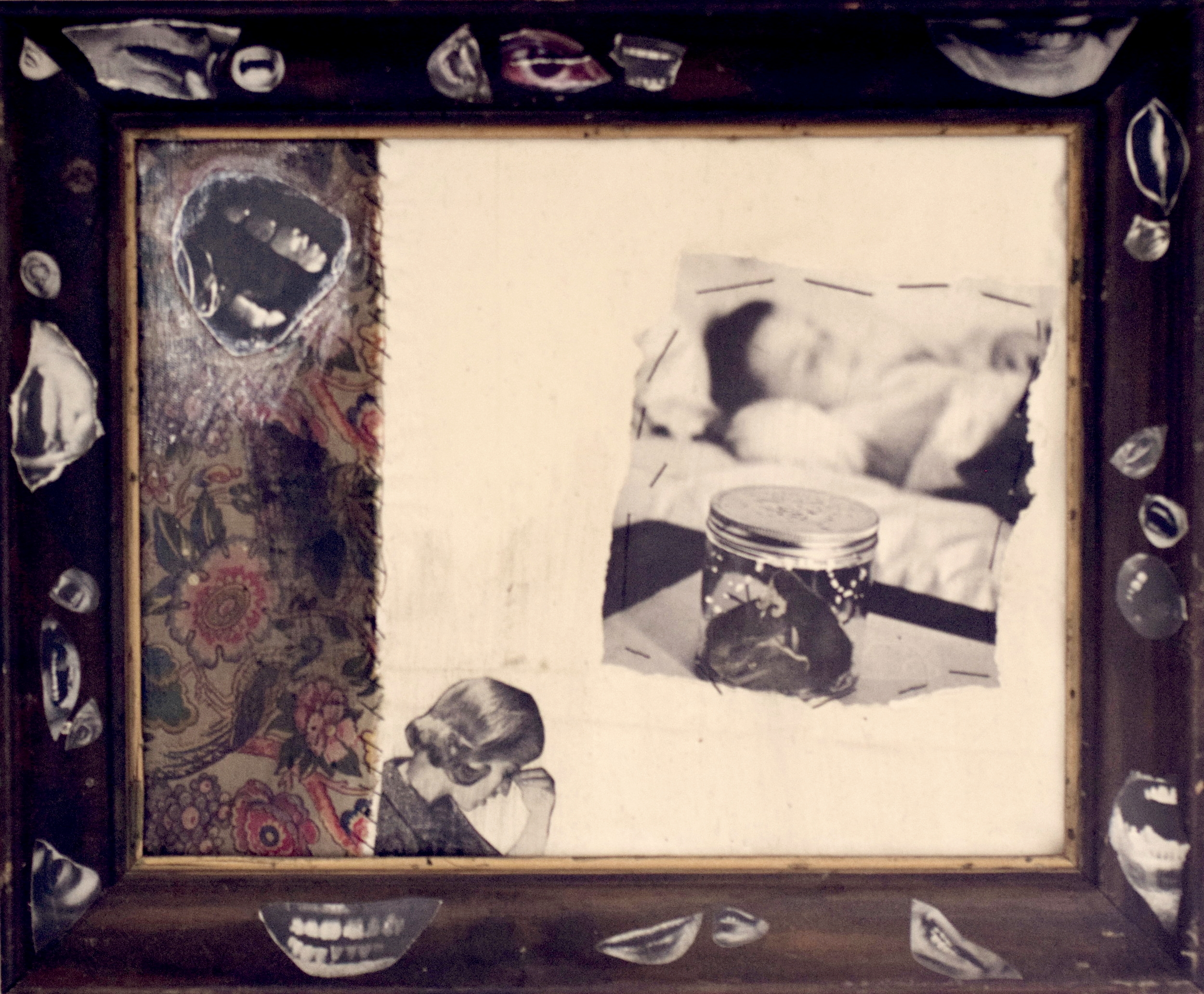 Untitled, collage on fabric & wooden frame