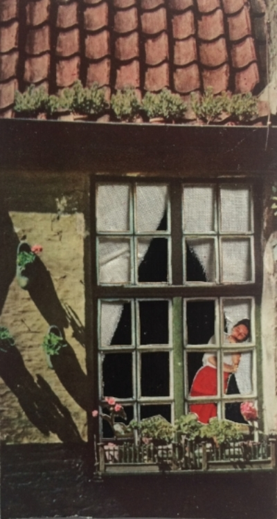 Woman in Window, collage on paper w/fabric