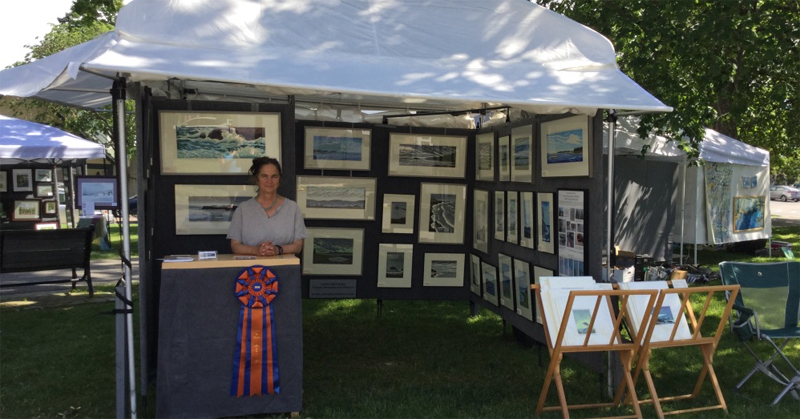 Look at my huge award ribbon for Best in Show Printmaking at the Bar Harbor Art in the Park, June 2018