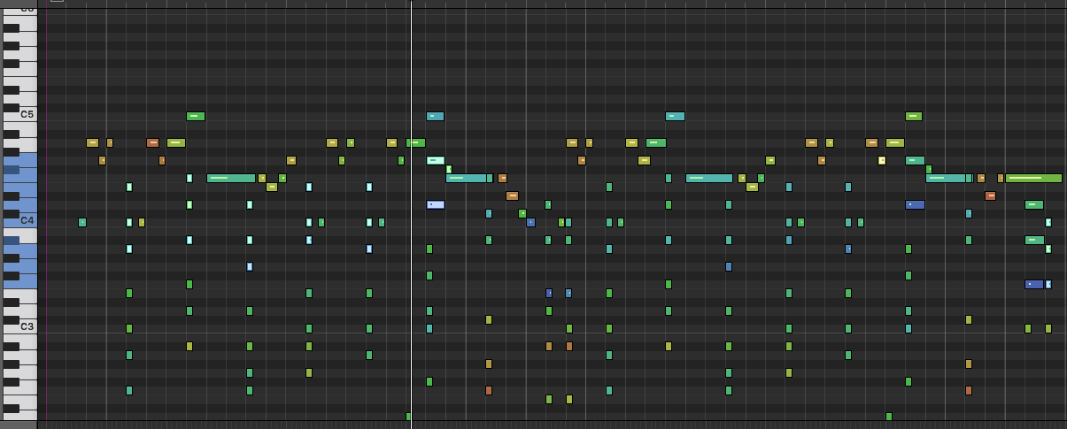 Piano roll shows velocity but still, which track is which?