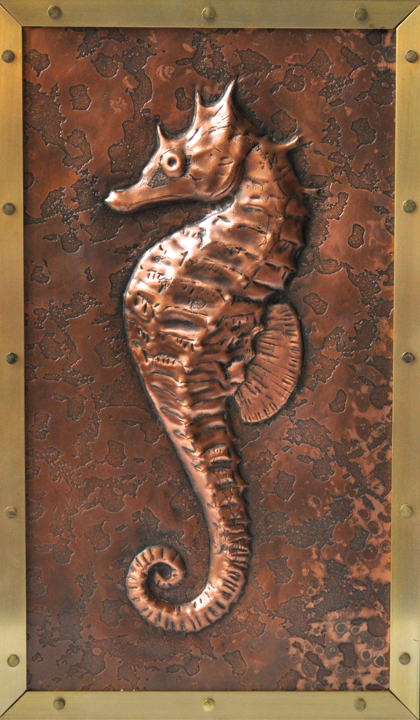 """Seahorse w/Brass Frame 8""""x12"""""""