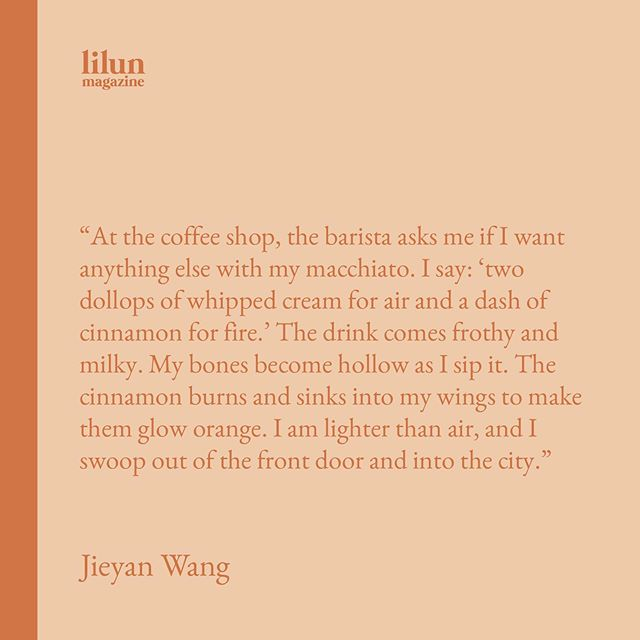 """✨ a magical slice from Jieyan Wang's short piece """"Dove to the Clouds"""" featured in our Spring 2019 issue, Adaptation (available at lilunmag.com/shop). We're seeking submissions for our upcoming issue, the theme of which is """"How to..."""" 〰️ Go to lilunmag.com/submit for all the details!"""
