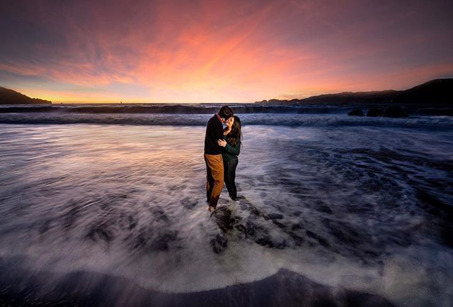 A Baker Beach engagement session with a great sunset. Using my AD200 and MagGrid. . . . . . .  #sanfranciscophotographer #sanfranciscoengagementphotographer #magmod #weddingphotography #weddingphotographer  #engagementphotos #beachengagement #sanfranciscoengagement #couplesession #engagementshoot #chasinglight #agameoftones #fearlessphotographer #engagement #engaged #shesaidyes #ido #gettingmarried #theknot #bride #junebugweddings