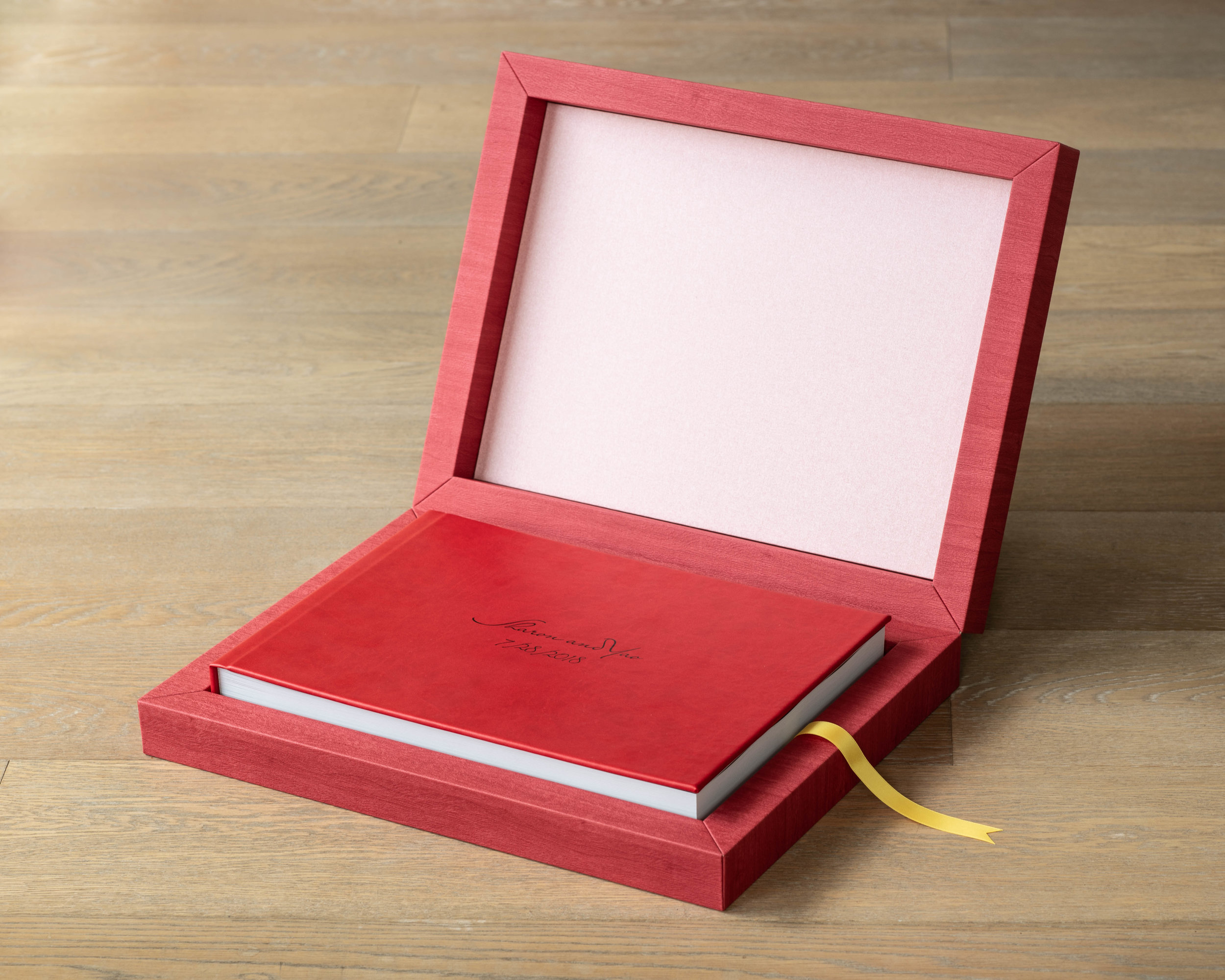 Leather or Linen book cover and enclosure box, with opening ribbon color choice -