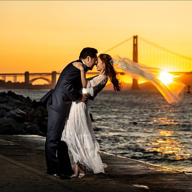 Sunset photos at the Golden Gate. . . . . . . . . . . . . . .  #sanfranciscophotographer #sanfranciscoengagementphotographer #magmod #weddingphotography #weddingphotographer  #engagementphotos #beachengagement #sanfranciscoengagement #couplesession #engagementshoot #chasinglight #agameoftones #fearlessphotographer #engagement #engaged #shesaidyes #ido #gettingmarried #theknot #bride #junebugweddings