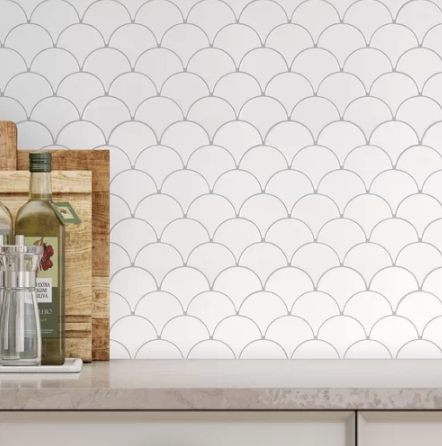 Fan Fish Scale 3.5″ x 3.5″ Ceramic Mosaic Tile in Glossy White, $4.86/sq ft,    wayfair.com