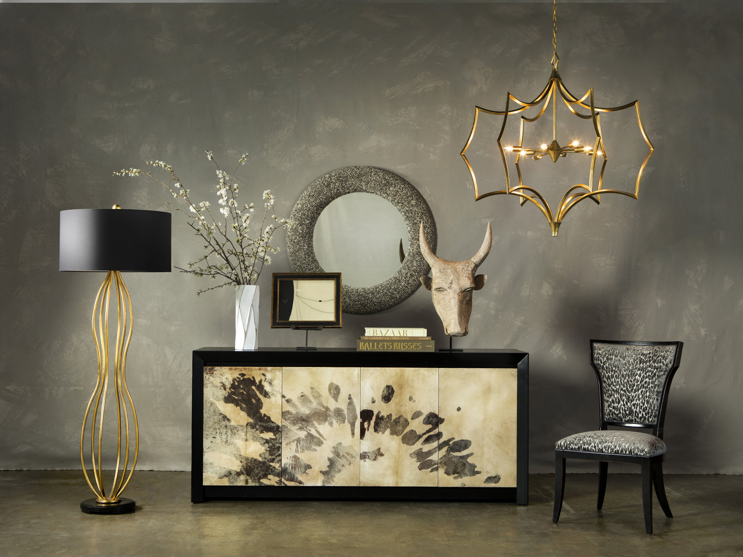 Karlson Credenza featured.  Images courtesy of Currey&Company.