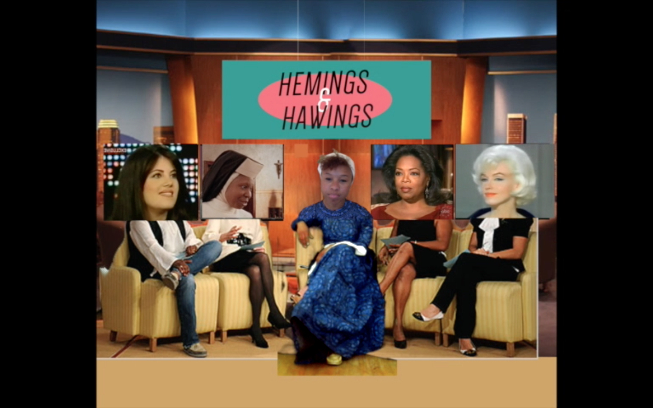 Still from Marisa Williamson's video  Hemings and Hawings: a Postmodern Talk Show , 2015. Courtesy of the artist.