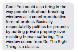 Text exchange with curator Anthony D. Stepter about Broken Windows theory.