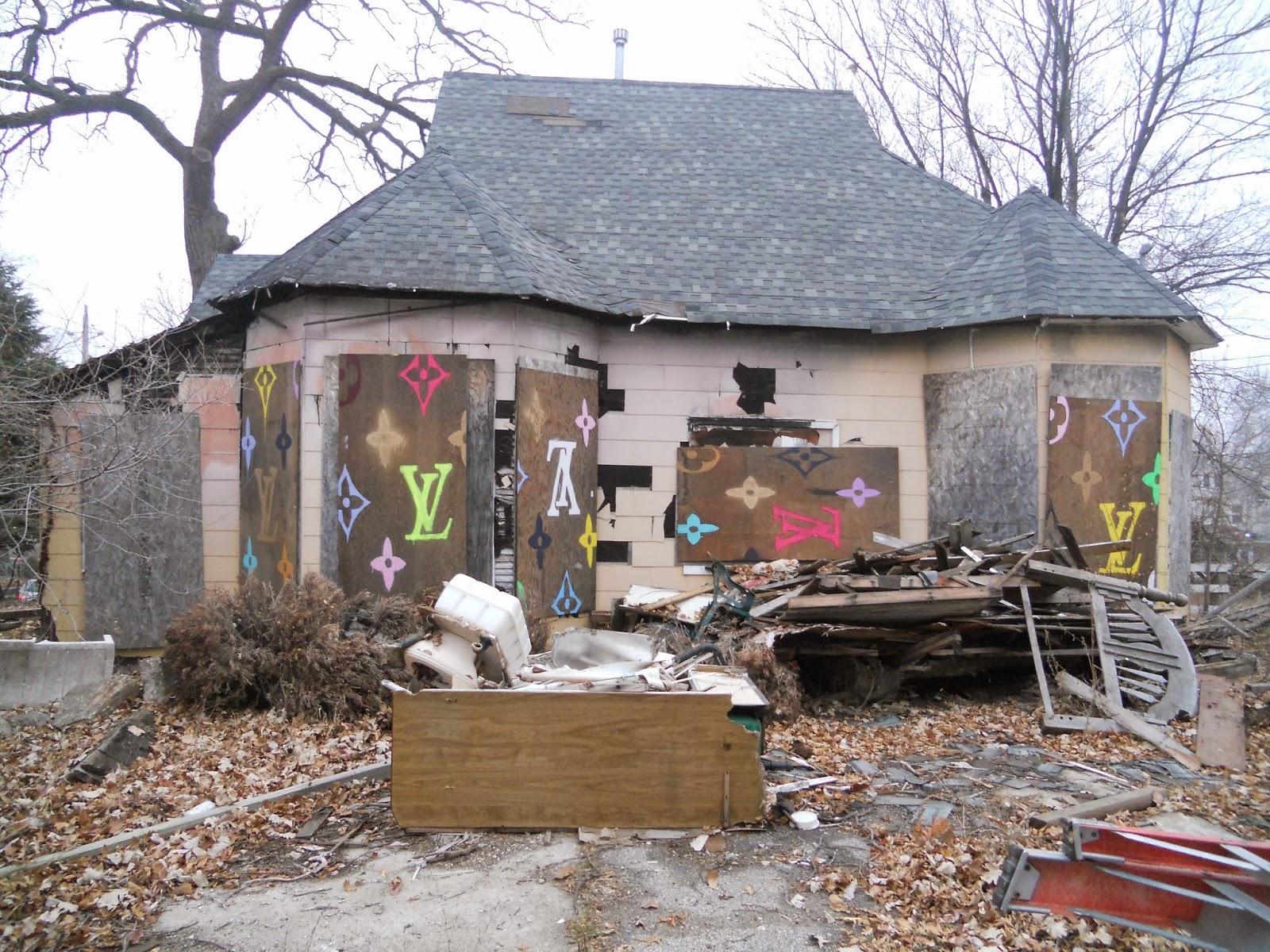 LV Crack House , 2013, Public Art Installation in Des Moines, IA, House, metal panels, enamel