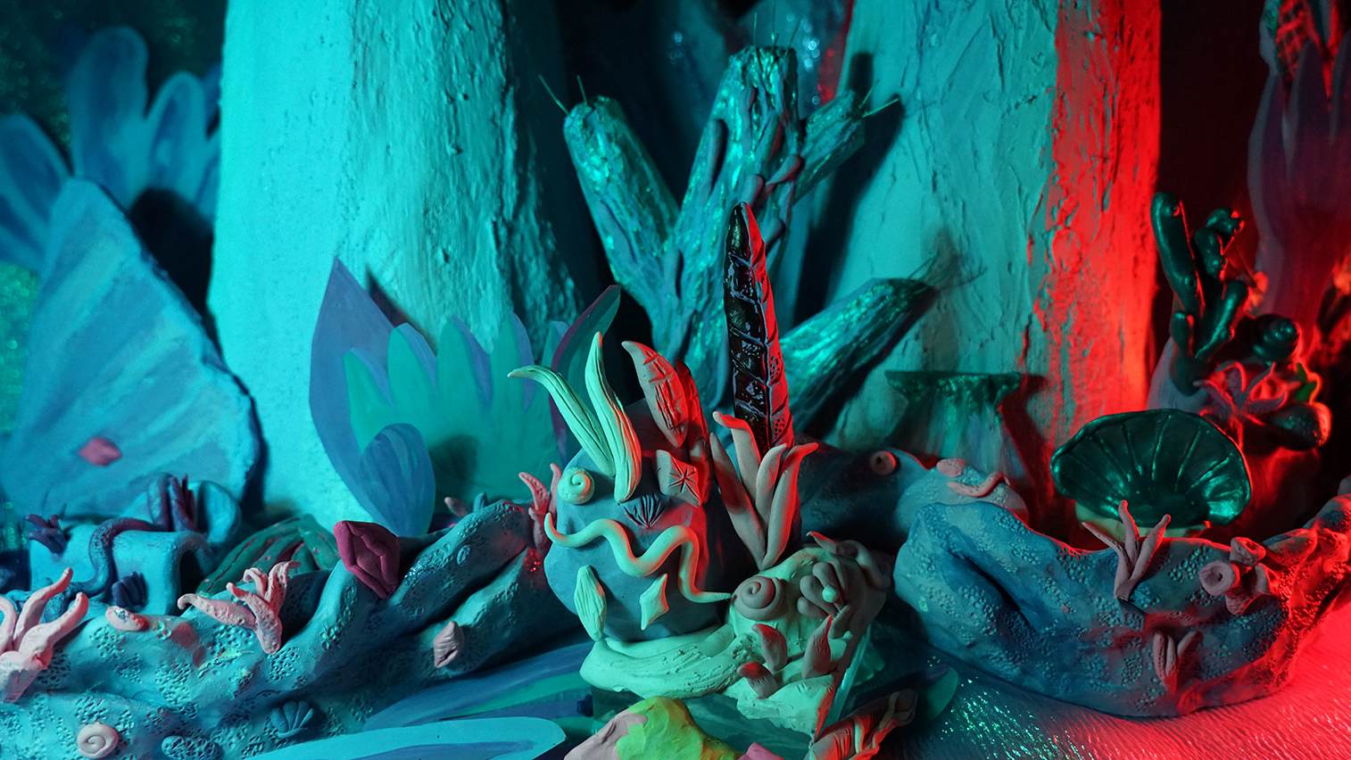 Zoe Chressanthis, Still from  Mers Springs, Sea Floor and Reef , 2017, Animation, Clay, Acrylic, Paper Mache, Plaster. 1 minute 8 seconds