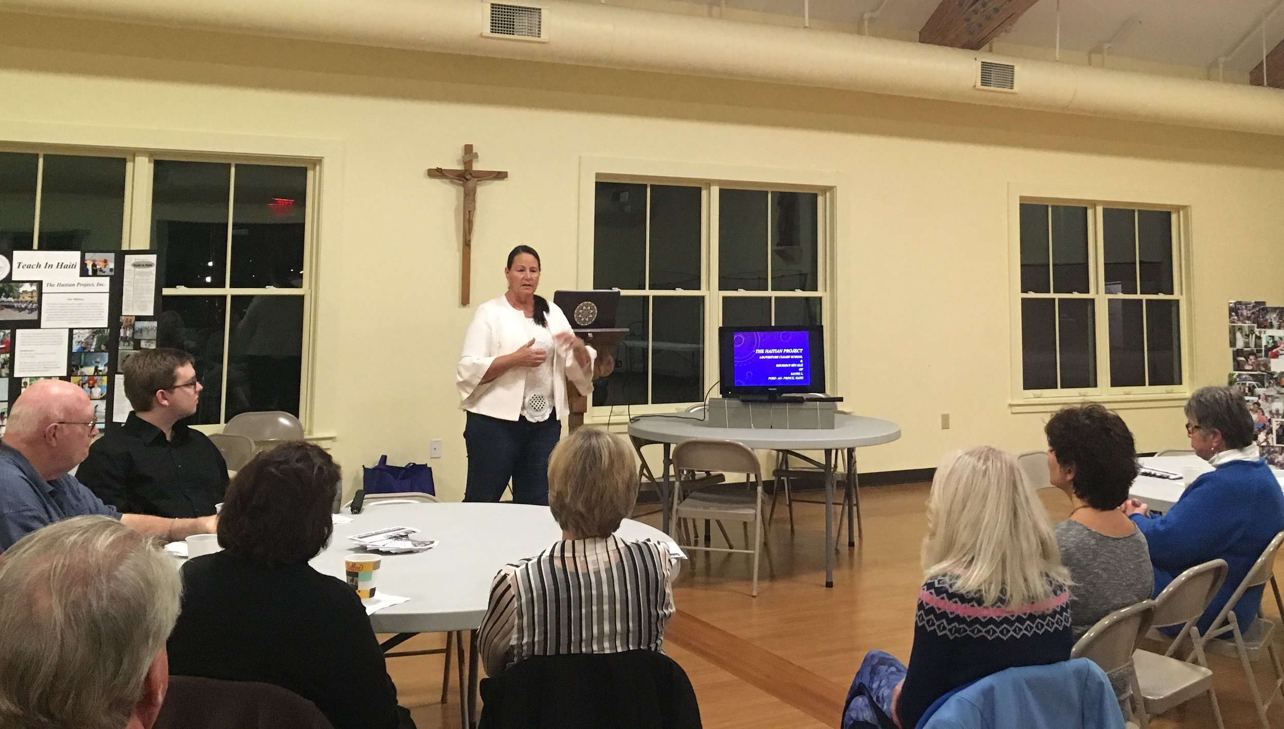 Christina speaks on life as a missionary in Haiti to a recent parish gathering.