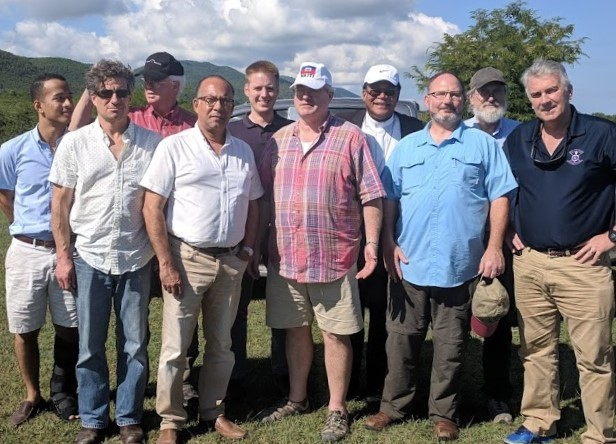 Deacon Patrick Moynihan and Patrick Brun (center and center left) with THP's Site Evaluation and Advisory Team (SEAT) in Nippes, Haiti.
