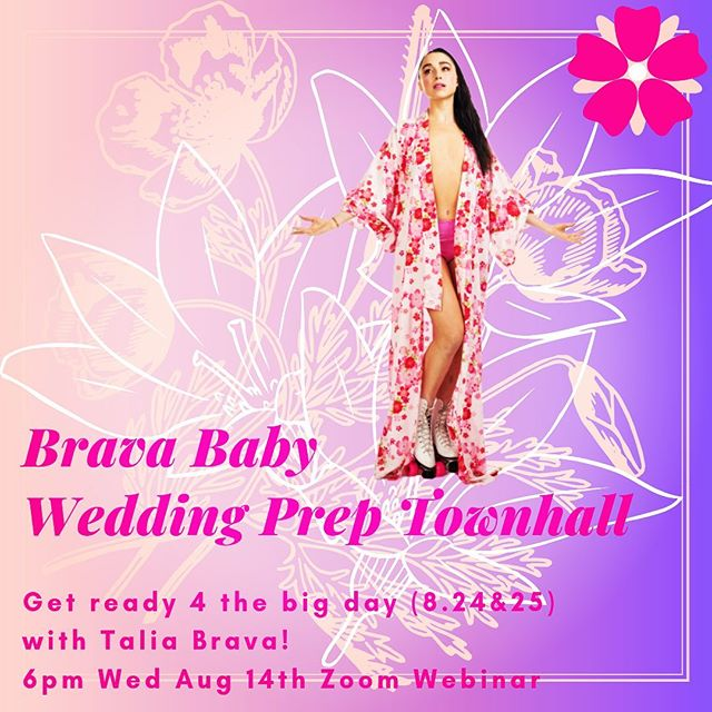 Tomorrow Night! 6pm PT! A Brava Baby Wedding Prep Townhall! Get ready for the big day (8.24&25 LV link in bio) w @taliabrava  Free! Zoom link to register: https://zoom.us/j/216039371 DM for clickable link  Wedding tickets in bio! @surethingchapel w @sophiaurista @jayson.michael @randum.spirit & @unclejohndamnit dir by @artisnerd