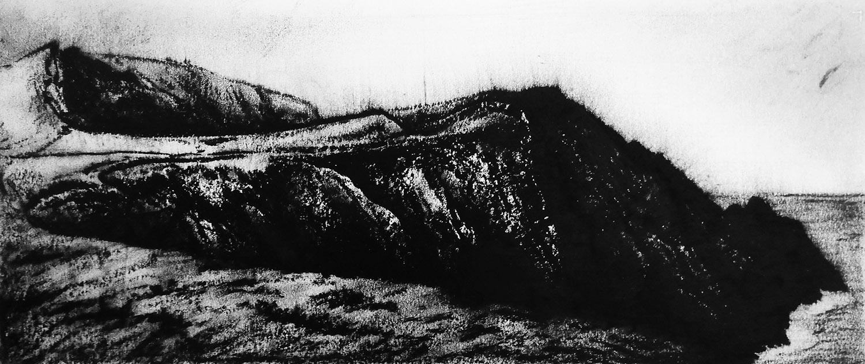 Kerry Cliffs, Ireland  -  25cm x 55cm - Oil pastel on paper - 2015