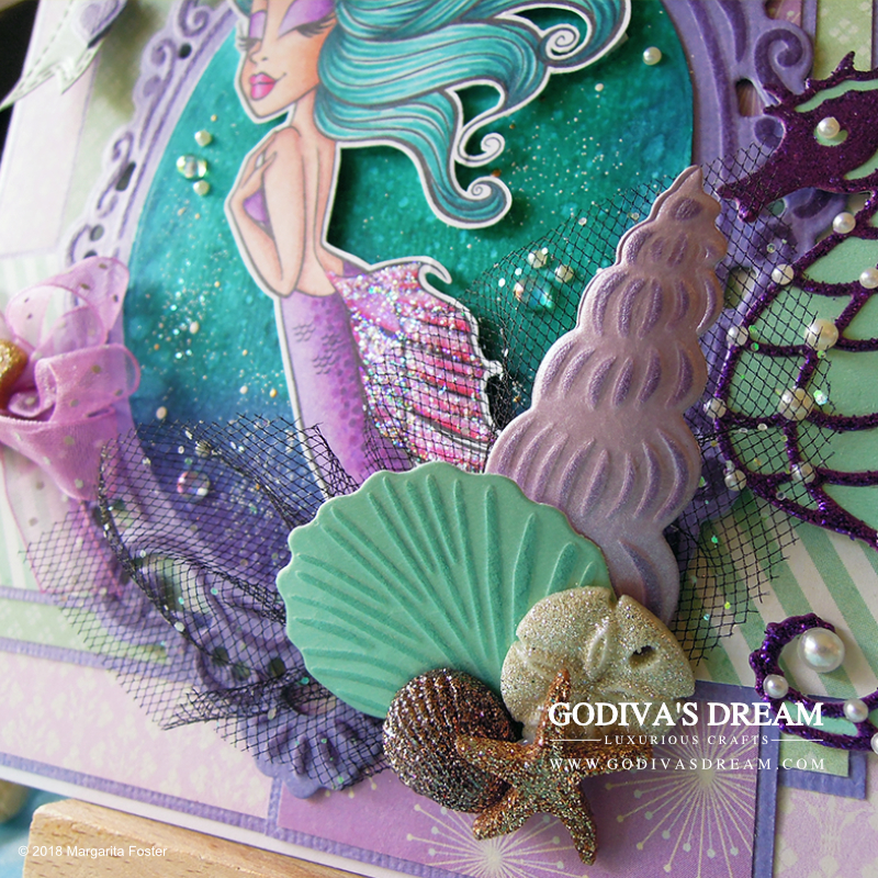 "Elegant Mermaid Card ""Serene Ocean"" by Godiva's Dream. There are a lot beautiful mermaid cards out there, but many them tend to be geared towards the younger audience. #cardmaking #papercrafting #mermaidcard #stamping #birthdaycard"