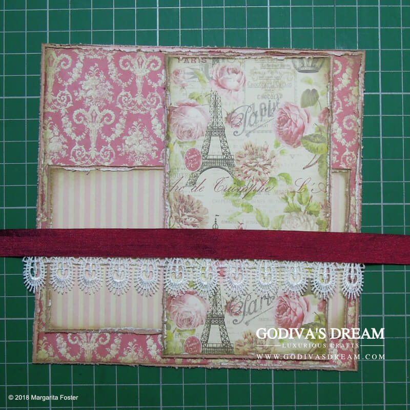 """Parisian Shabby Chic Spa Card Tutorial """"Spoil Yourself"""" by Godiva's Dream. Everyone needs to relax and enjoy alone time once in a while. This card is perfect for any occasion, be it a birthday or just to accompany a spa-related gift. #cardmaking #papercrafting #handmadecard #shabbychic #stamping"""