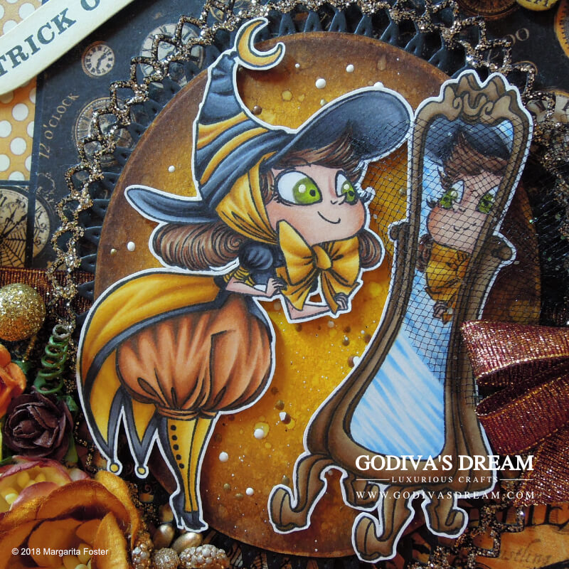 """Spellbinding Halloween Card """"Costume Party"""" by Godiva's Dream. Dressing up for Halloween is part of the fun as proven by this stylish witch card. Click to read all about how autumnal yellow deserves its place in spooky projects and other creative details about this piece. #cardmaking #papercrafting #handmadehalloween #halloweencard #stamping"""