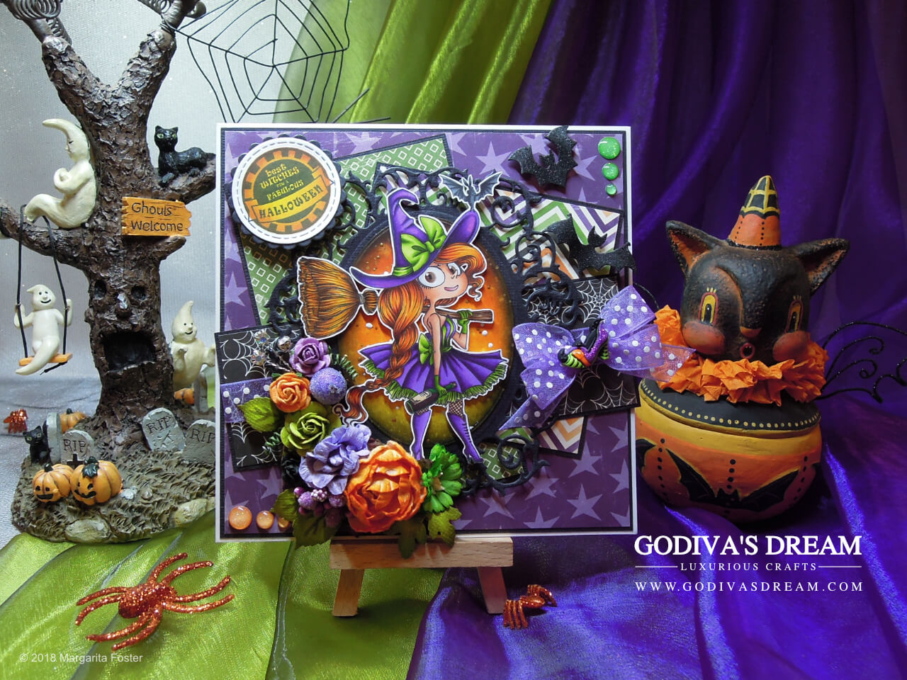 "Witchy Halloween Card ""Best Witches"" by Godiva's Dream. When it comes to Halloween, witches never go out of style! Bright colour scheme, elegant and fun embellishments are all present on this bewitching Halloween card. #cardmaking #handmadehalloween #papercrafting #halloweencard"