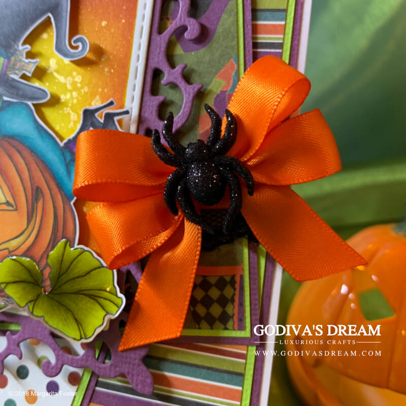 """Pumpkin Spice Witch Halloween Card """"Spooky Coffee Break: by Godiva's Dream. Halloween has arrived! The spookiest day of the year can only mean that I've created a matching card to mark the occasion. Witches, pumpkins, spiders, bats and even coffee may be involved, not a word of lie! #handmadecards #handmadehalloween #papercrafting #cardmaking #halloweencard"""