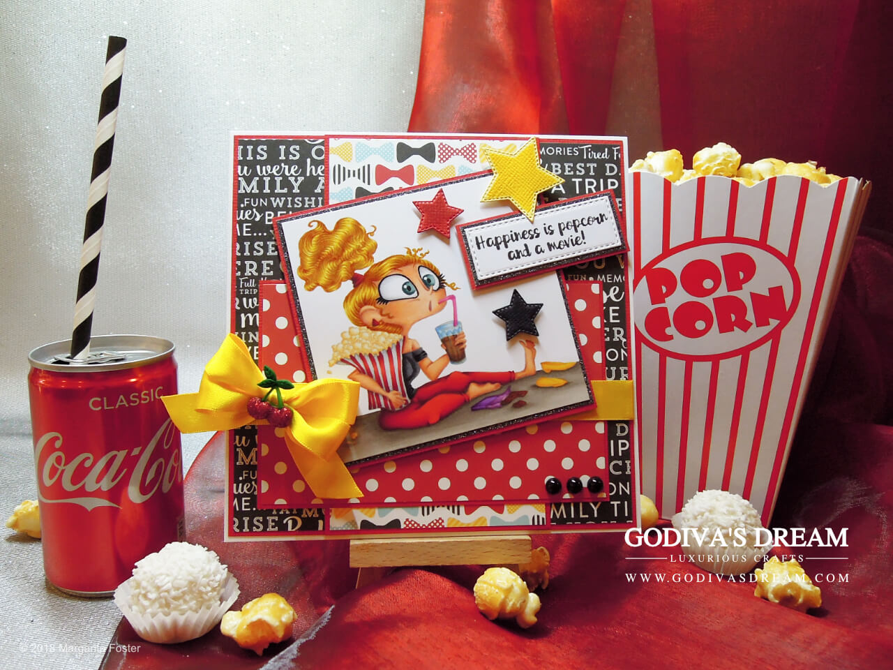 "Movie Birthday Card ""Pass the Popcorn"" by Godiva's Dream. What do you do when it's pretty chilly outside and it gets dark rather early? Why you wrap up in your favourite blanket and watch a great film! I made this fun and vibrant birthday card that's perfect for a movie or a TV show fan. #cardmaking #handmadecard #papercrafting #birthdaycard #stamping"