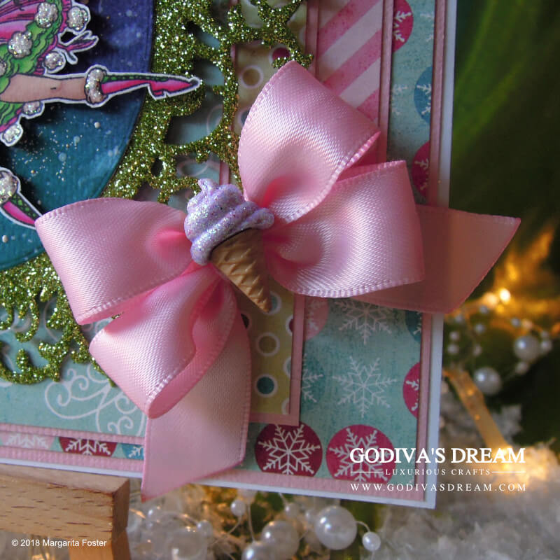 """Fairy Christmas Card """"Winter Magic"""" by Godiva's Dream. Beautiful Christmas cards can be traditional, but they can also be a little bit different from the norm. How about a pink one featuring a jolly wintry fairy with a bobble hat? #cardmaking #handmadecard #handmadechristmas #christmascard #papercrafting"""