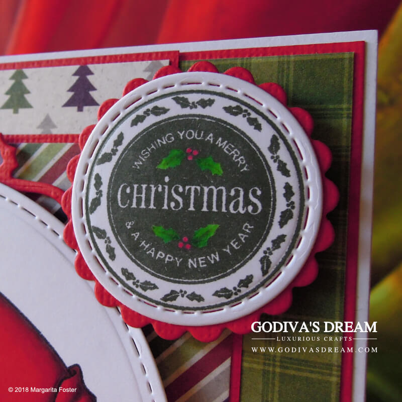 """Santa Christmas Card """"Santa's Gift"""" by Godiva's Dream. When you have Christmas, you need Santa. And maybe elves too. Oh, and a gingerbread man! You can find all these things and more on this festive card. #cardmaking #handmadecard #handmadechristmas #christmascard #papercrafting"""