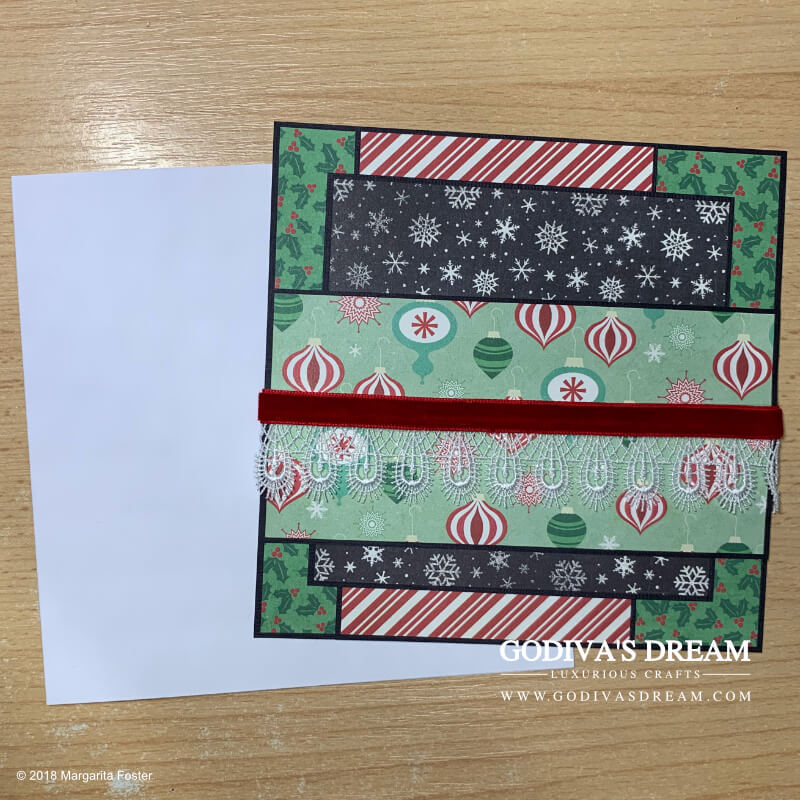 """Christmas Card Tutorial """"Christmas Cheer"""" by Godiva's Dream. This, somewhat traditional and a bit whimsical, luxurious, Christmas card is sure to make anyone smile during the holiday season. I included a step-by-step tutorial as an extra festive treat. #cardmaking #handmadecard #handmadechristmas #christmascard #papercrafting"""