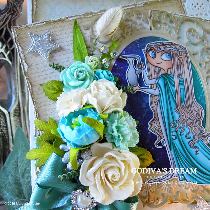 """""""The Lord of the Rings"""" Birthday Card """"The Elven Queen"""" by Godiva's Dream. This """"Lord of the Rings"""" inspired elven birthday card is both, magical and quietly luxurious. #cardmaking #handmadecard #papercrafting #birthdaycard #stamping #lordoftherings"""