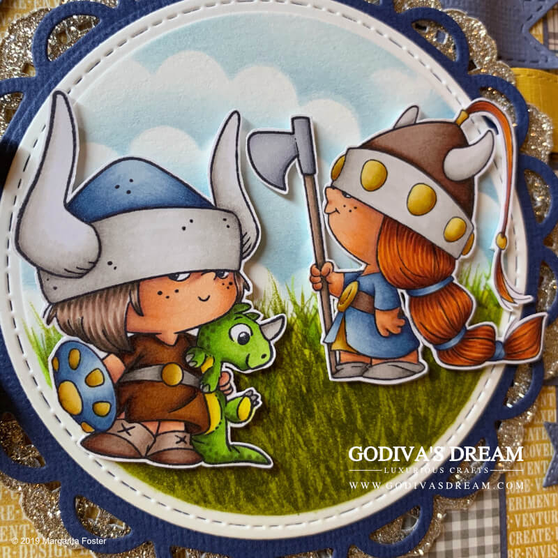 Horned viking helmets, dragon pets, playing in the meadow for hours - now wouldn't that be fun? These playful characters are bound to make the recipient of this birthday card smile ear to ear. #cardmaking #handmadecard #papercrafting #birthdaycard #stamping #vikings