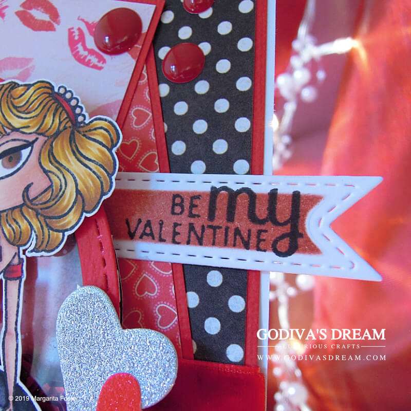 """Rockabilly Valentine's Day Card """"You're the One that I Want"""" by Godiva's Dream. Sweet Valentine's Day cards are truly great, but they can also be rocking like this one - a 50s and rockabilly inspired piece. #handmadecards #papercrafting #cardmaking #stamping #valentinesday #handmadevalentines"""