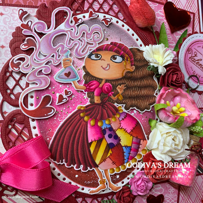 """Pretty Pink Valentine's Day Card """"Love is Magical"""" by Godiva's Dream. Newsflash - bright pink is the new red! At least on this elaborate Valentine's Day card. Red is also included to avoid disappointment. And hearts. And flowers. And potions. #handmadecards #papercrafting #cardmaking #rubberstamping #valentinesday #handmadevalentines"""