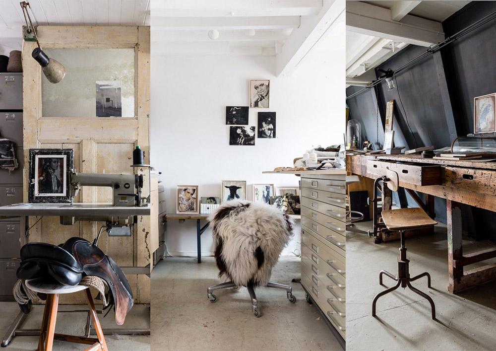 atelier c h a o s | diverse werkplekken in het atelier | fotografie Hans Mossel