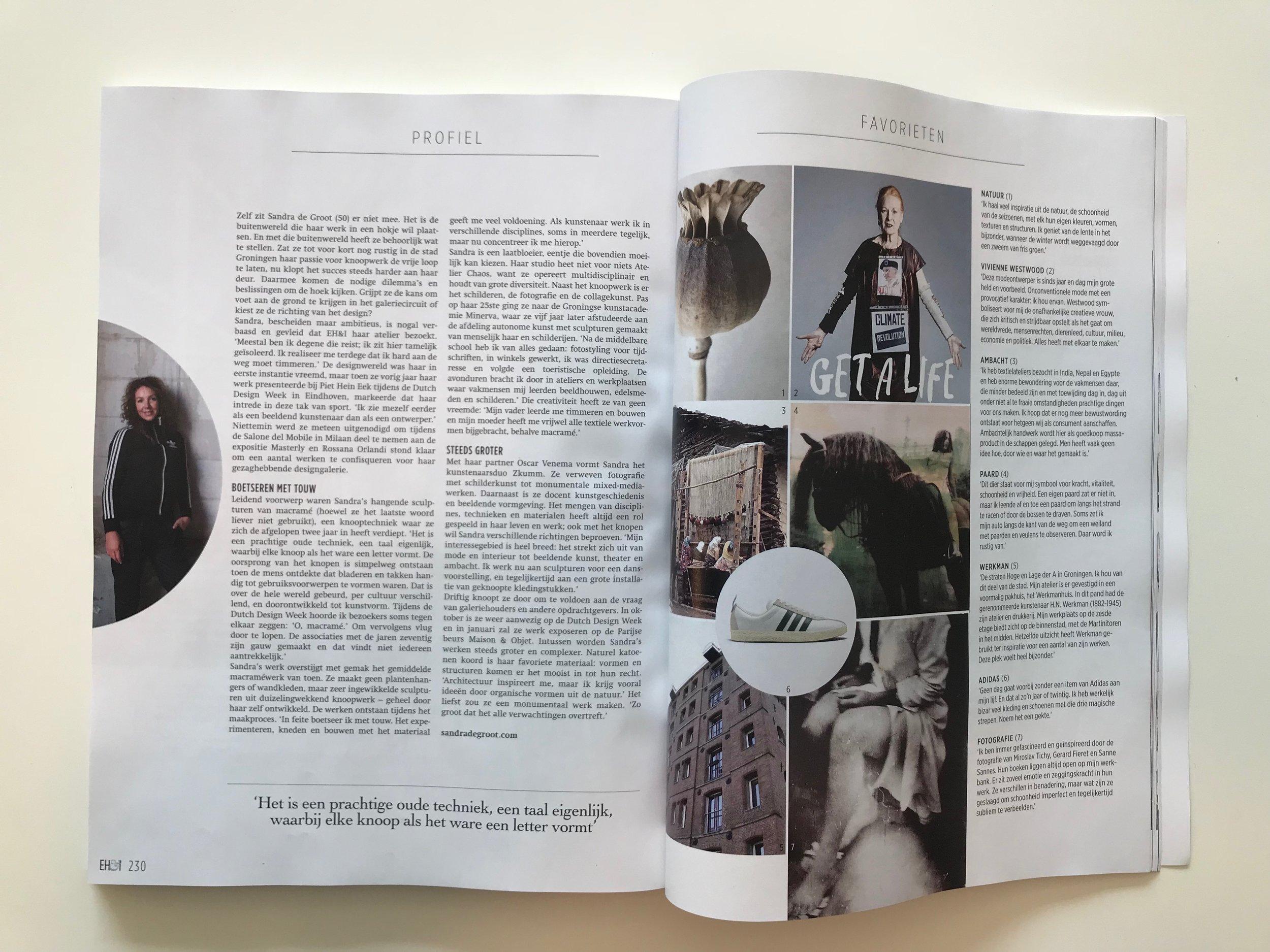 EIGEN HUIS EN INTERIEUR MAGAZINE | October 2018 | interview about my work | kNOT sculptures