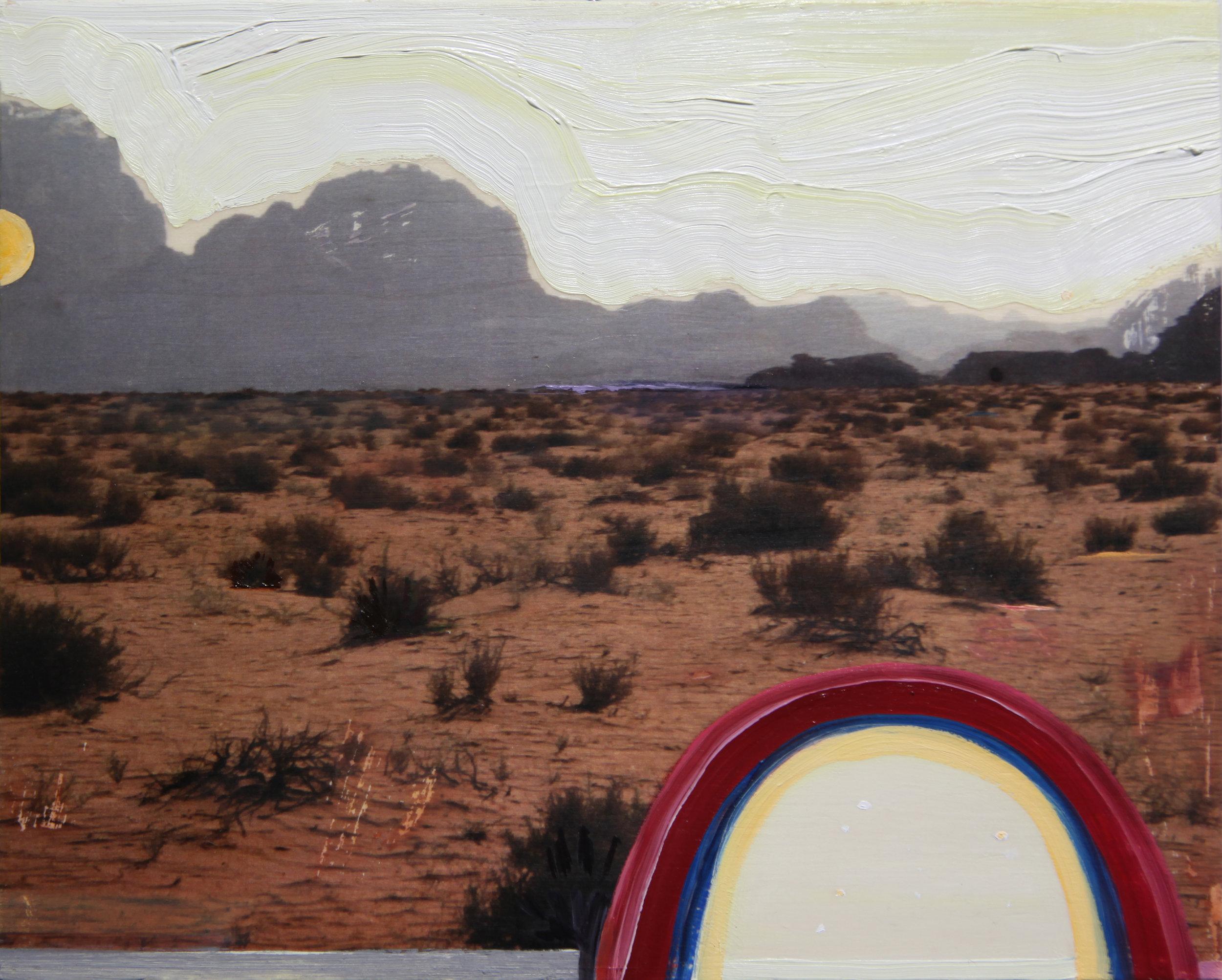"Wadi  , 2016 Oil / mixed media on birch panel 8"" x 10"""