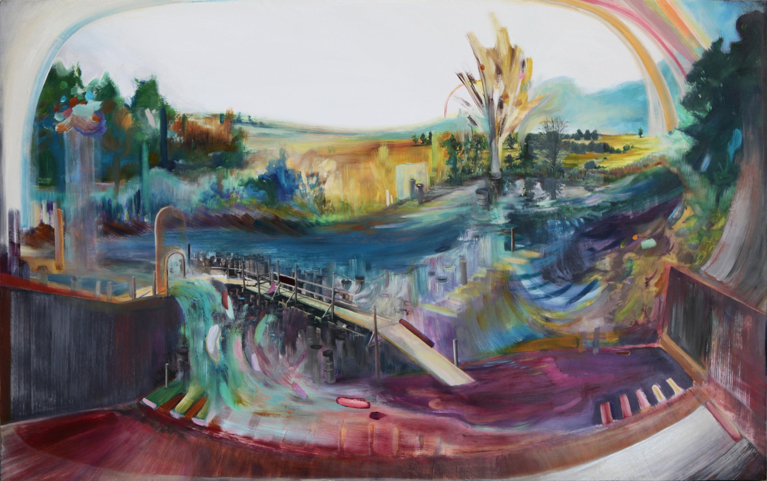 "Stereoscopic  , 2016 Oil / mixed media on board 30"" x 48"""