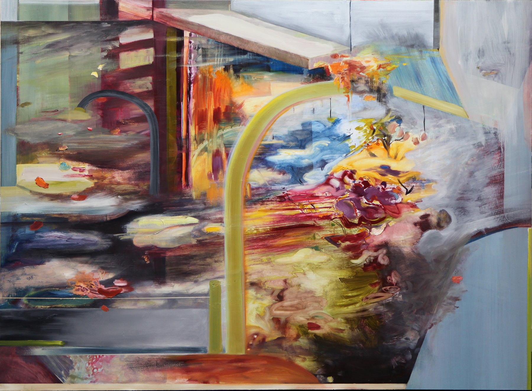 "Floodgate  , 2013 Oil on board 36"" x 48"" 