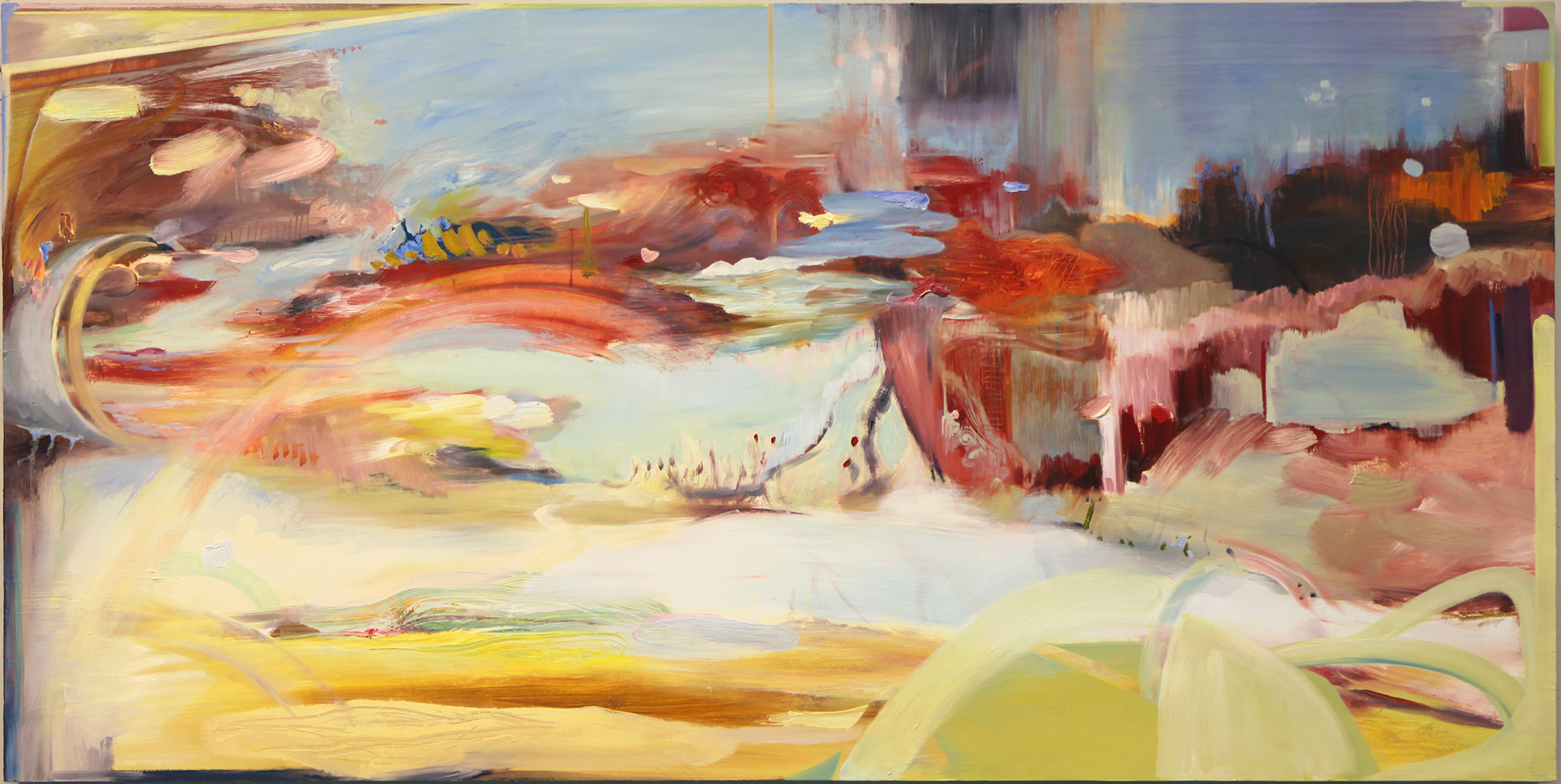 "Scenic Byway,   2013-2014 Oil on board 24"" x 48"" 