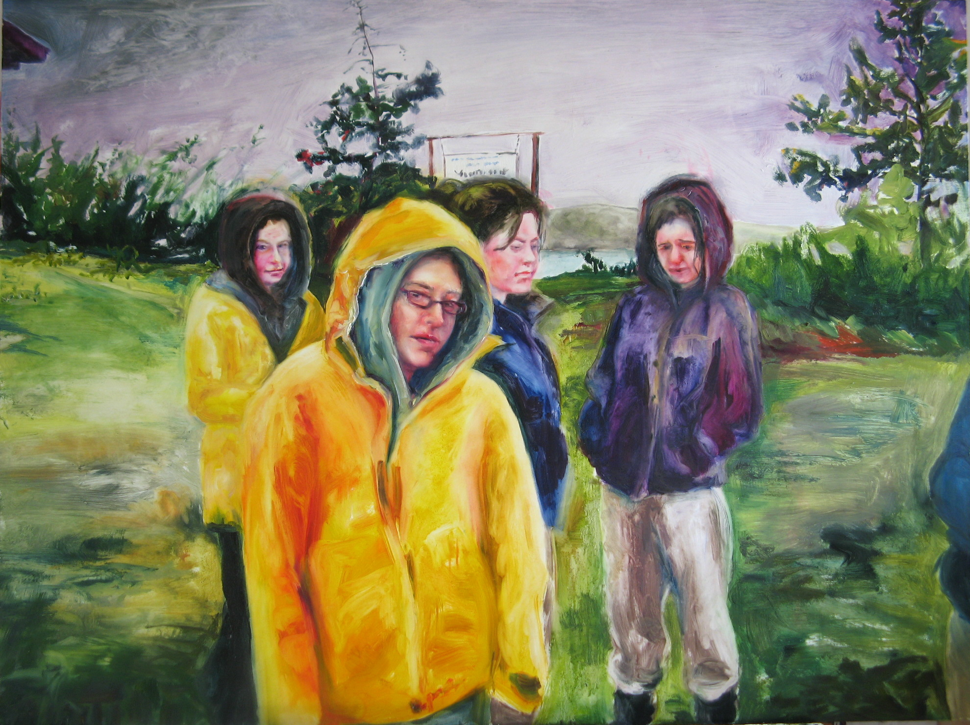 """Get on the Bus  , 2009 Oil on board 36"""" x 48"""""""