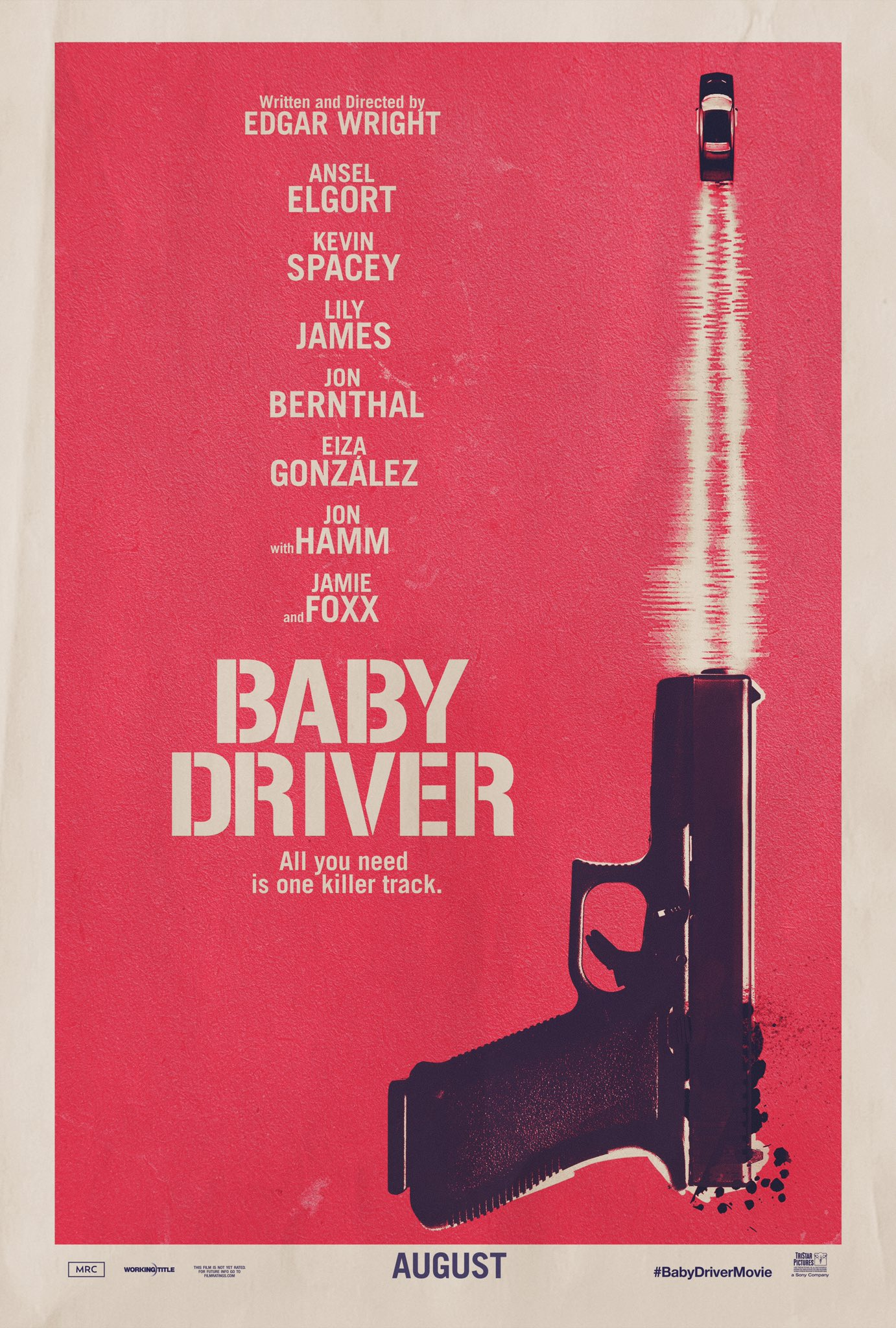 Baby Driver (2017) - Edgar Wright - If you haven't felt it before, you're probably not human. The feeling I'm talking about is you, in your car, windows down, and the song comes on. There's no moment quite like it. Baby Driver is that moment, in a way that we (law abiding citizens) will never feel. Sure, that may be the obvious analogy considering this is the premise of the movie, but because it's one of my favorite feelings in the world, I couldn't help myself.Directed by Edgar Wright and starring a cast that you would want to be best friends with Baby Driver is a summer car movie I'm not ashamed to tell my friends that I saw and loved. Saying a movie is a music video can mean both bad and good things, in this case, good things, very good things. Elgort as Baby was literally and figuratively the driver throughout the movie. I bought into him and everything he brought to the character. I knew I was going to like this movie, because I like all of Wright's stuff but this one is up there with his best for me. He made it feel retro in a modern time and it fucking worked, which makes me hate him with envy.There's very little to dislike about this movie, unless you don't like criminals in which case, what movies do you like? I laughed, I cried (no), I drank (beer), and I loved. See this fucking movie. Not because it's the anti Fast and Furious (though it is) but because you will like it.What to like: Baby drivers. Music! The walking to the beat and diegetic and non-diegetic sound. The actors. The gottdamn music!What not to like: I dare you to not like something.Reel Rotten Rating: Not reel rotten, just real fucking great.