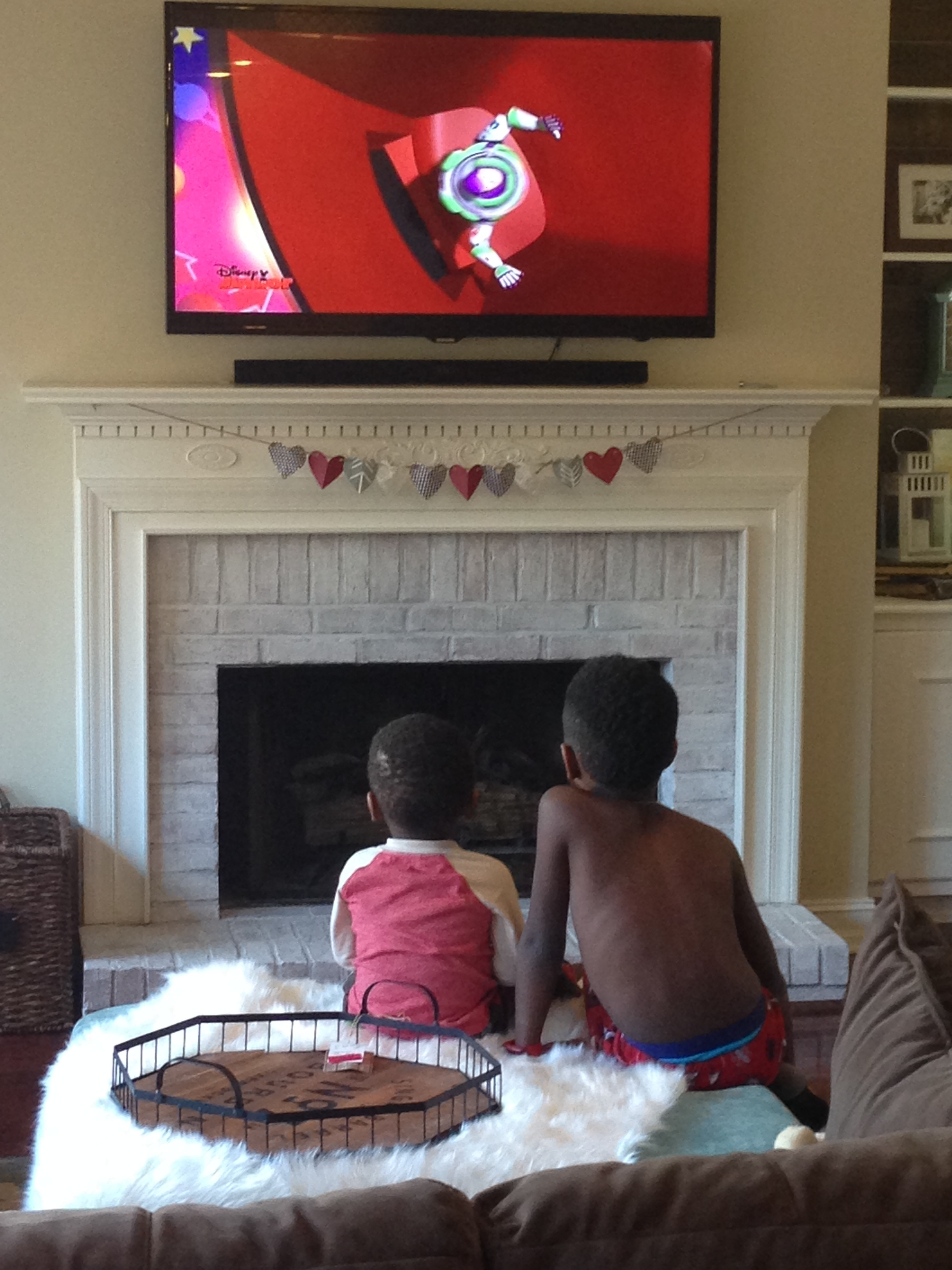 They decided this was the perfect spot to watch Toy Story...and you can see my discount price tag still on the tray : )