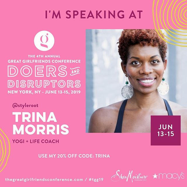 "Well to be clear, I'm speaking... and #breathing ✨ @thegreatgirlfriends conference 2019😁 Soo excited and grateful to @brandicedaniel and @sybil_amuti for thinking of me.🙏🏾 This year's theme ""Doers & Disrupters"" is amazing, and I invite you (reading this!) to use my discount code & come feel the #innerG 💫 I look forward to getting us all @rooted_well on Friday afternoon 🌱 I'll have #ROOTED Well Plans for sale + a special #tgg19 promotion! Hope to see you💞  #wellness #yoga #meditation #lifecoach #branding #balance #nature #peace #prosperity #purpose #thegreatgirlfriends"