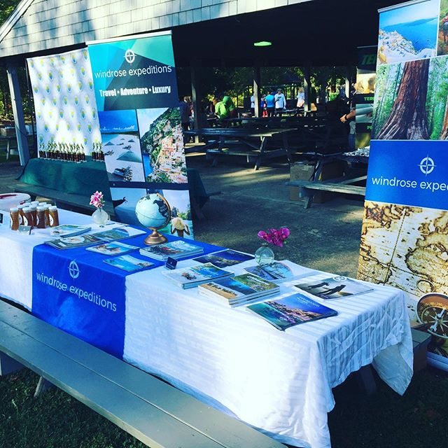 We are all set up at the #bristolwarreneducationfoundation #foodtruck5k Come support a great cause, learn about travel and enjoy free honey tastings from #littlewhitebarnapiary Contact me: Mtroia@windroseexpeditions.com 508-514-0251 www.windroseexpeditions.com #windroseexpeditions