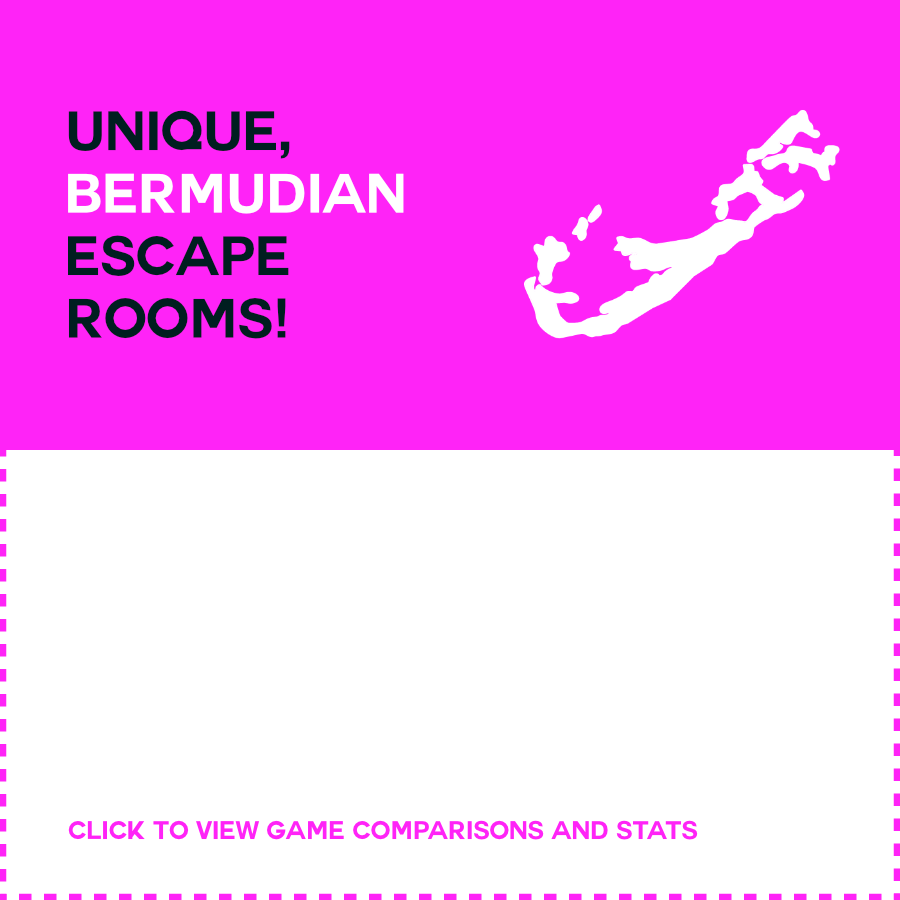 Unique,  Bermudian  escape rooms !   Detailed, story-driven games featuring Bermuda and our culture. Our games are exciting, immersive, challenging and Bermudian!  CLICK TO VIEW GAME COMPARISONS & STATS