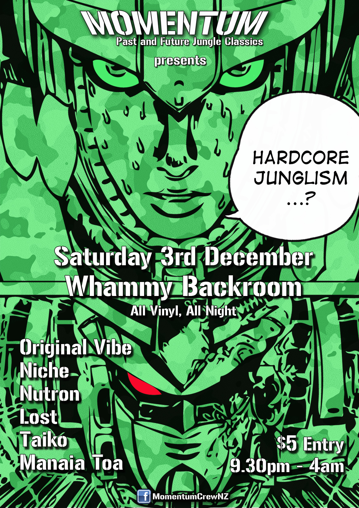 Hardcore Junglism Saturday Dec 3, Whammy Backroom, Auckland