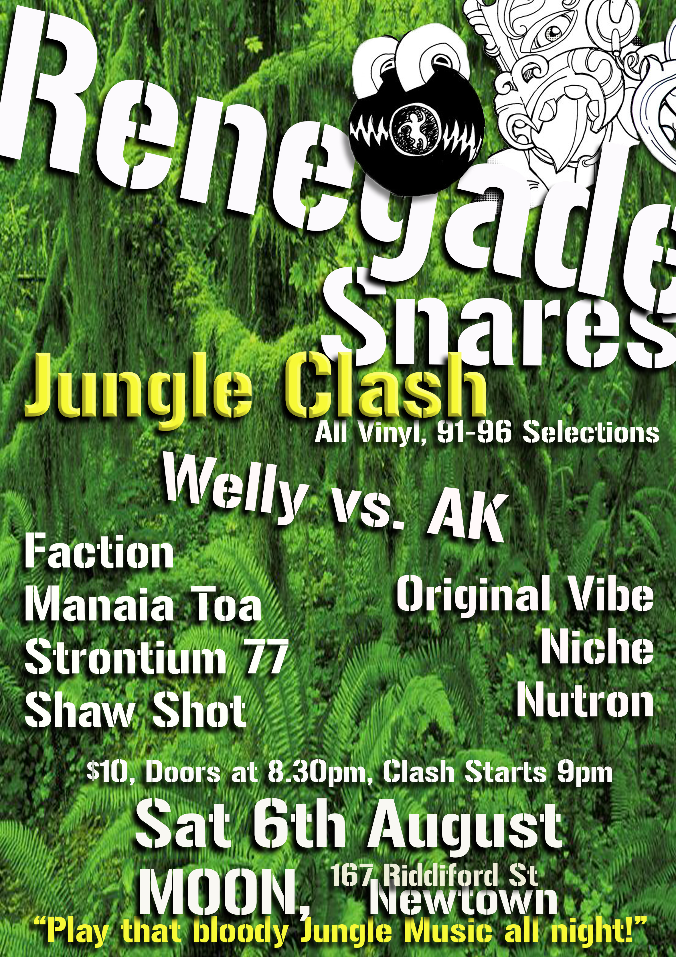 Renegade Snares Jungle Sound Clash: AK vs Welly Saturday Aug 6, MOON, Wellington