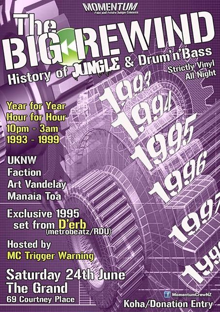 The Big Rewind: History of Jungle & Drun'n'Bass  Saturday June 25, The Grand, Wellington
